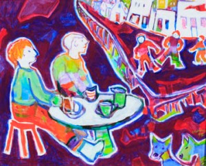 """Tea For Two, 1995 acrylic on canvas 24""""x30"""