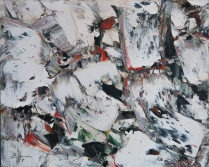 "Paul-Émile Borduas, ""Blancs Metaux"" 1955, oil on canvas, 20x24 in."