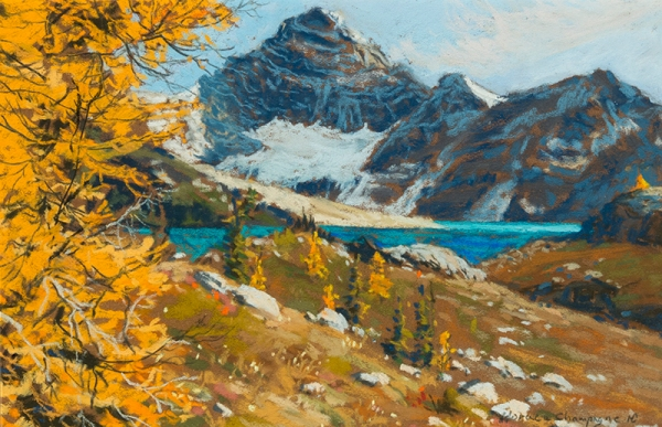 "Horace Champagne, ""Yellow, Orange Larch"" 2014, pastel, 10x15 in."