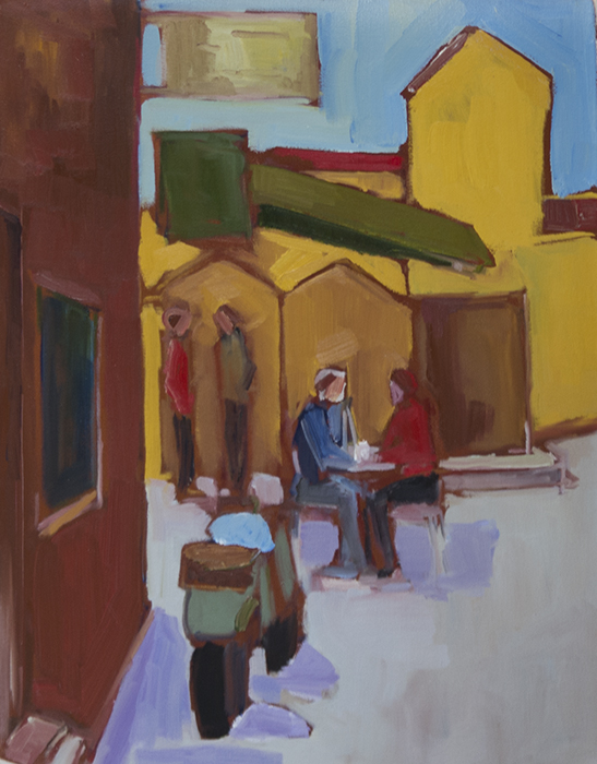 "John Lennard, ""Waiting to Record, Manchester"" 2014, oil on canvas, 24x18 in."