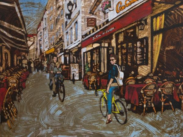 "Geoff MacKay, ""Paris Morning"" 2015, oil and tar on board, 36x48 in."