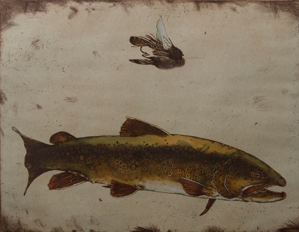 """Jack Cowin, """"Bull of the Bow (Western Trout Series)"""" 1983, mixed media, 17x22 in."""